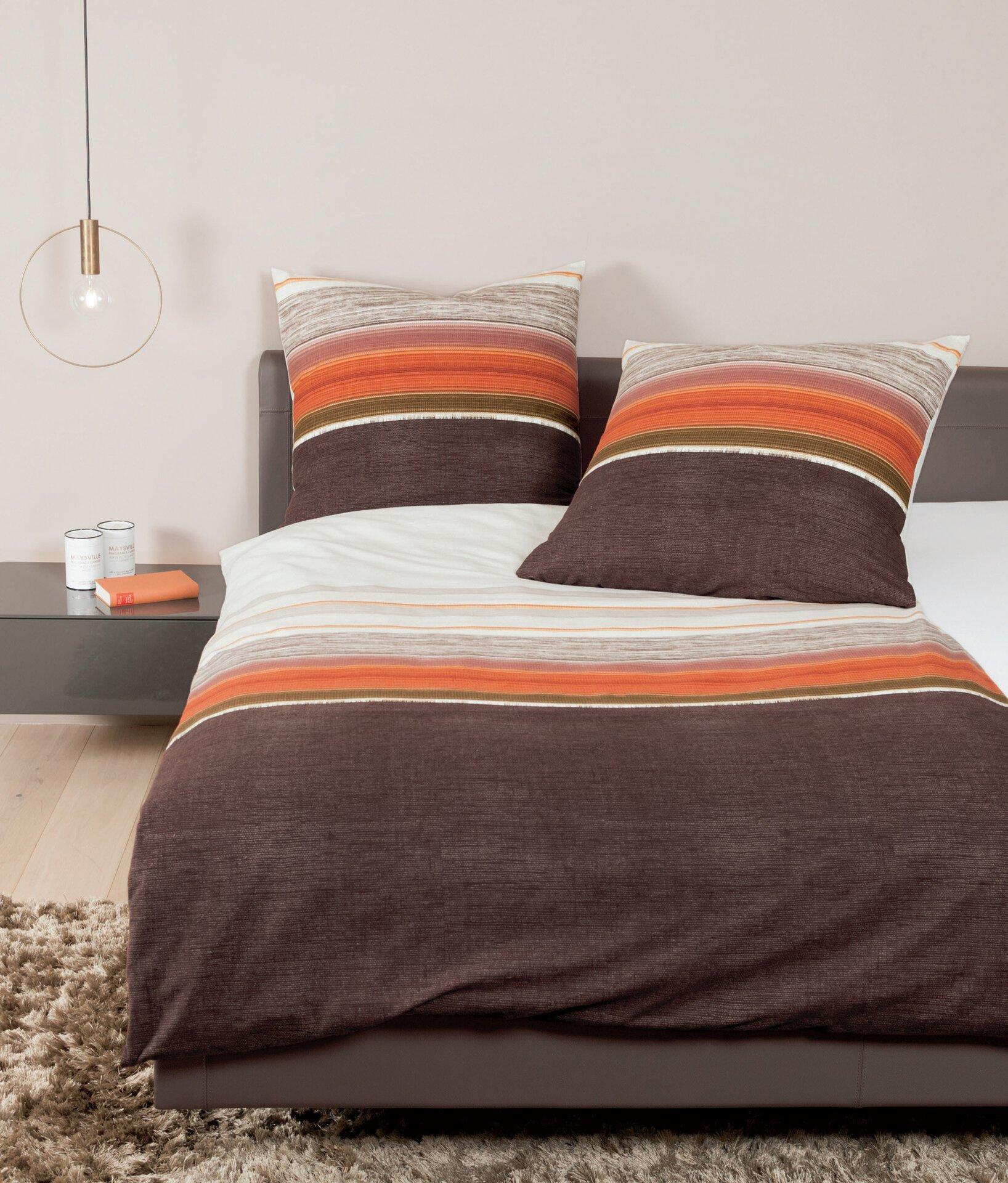 Satin-Bettwäsche Palermo Janine Textil braun 135 x 200 cm