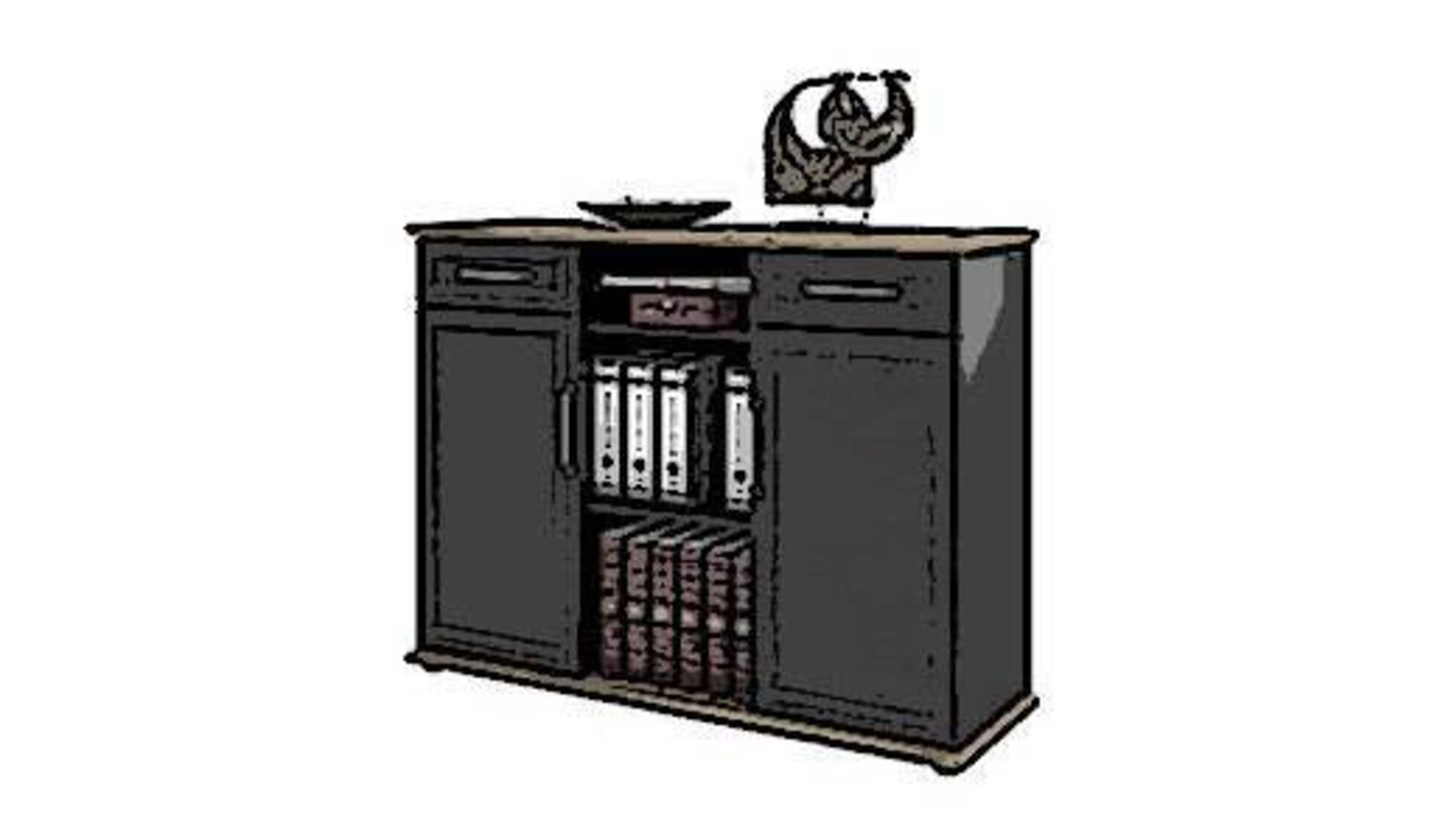 Büroregal aus dunklem, glatten Holz als Icon für die Produktwelt innerhalb der Kategorie Arbeitszimmer.