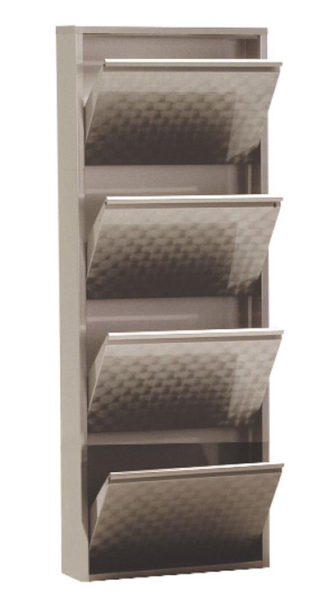 Schuhschrank CLIP4 inbuy Holzwerkstoff silber 15 x 136 x 51 cm