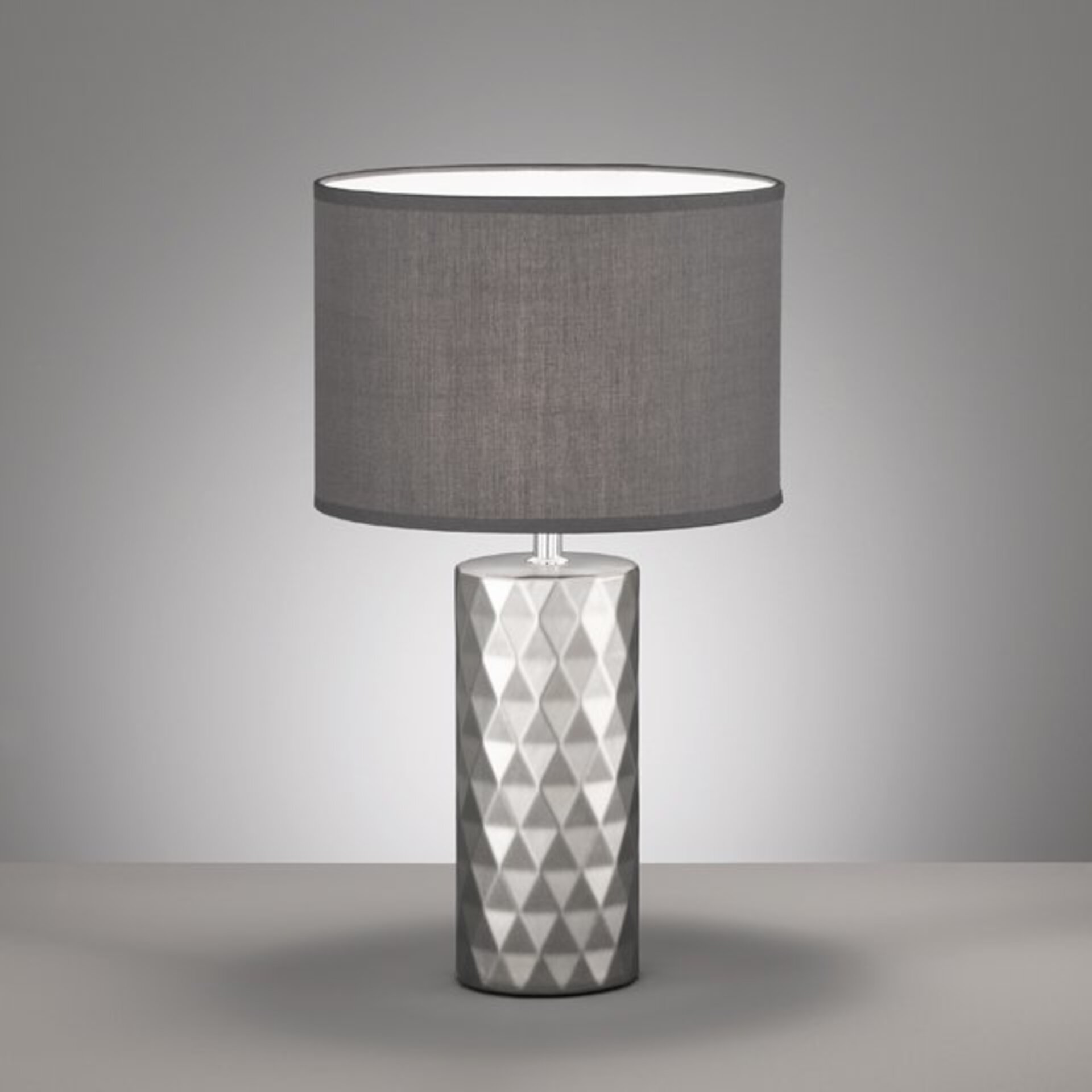Tischleuchte Abo Fischer-Honsel Textil grau 25 x 43 x 25 cm