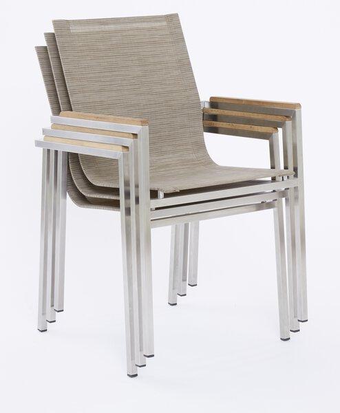 Stapelstuhl Outdoor Holz, Metall, Textil silber ca. 55 cm x 85 cm x 64 cm