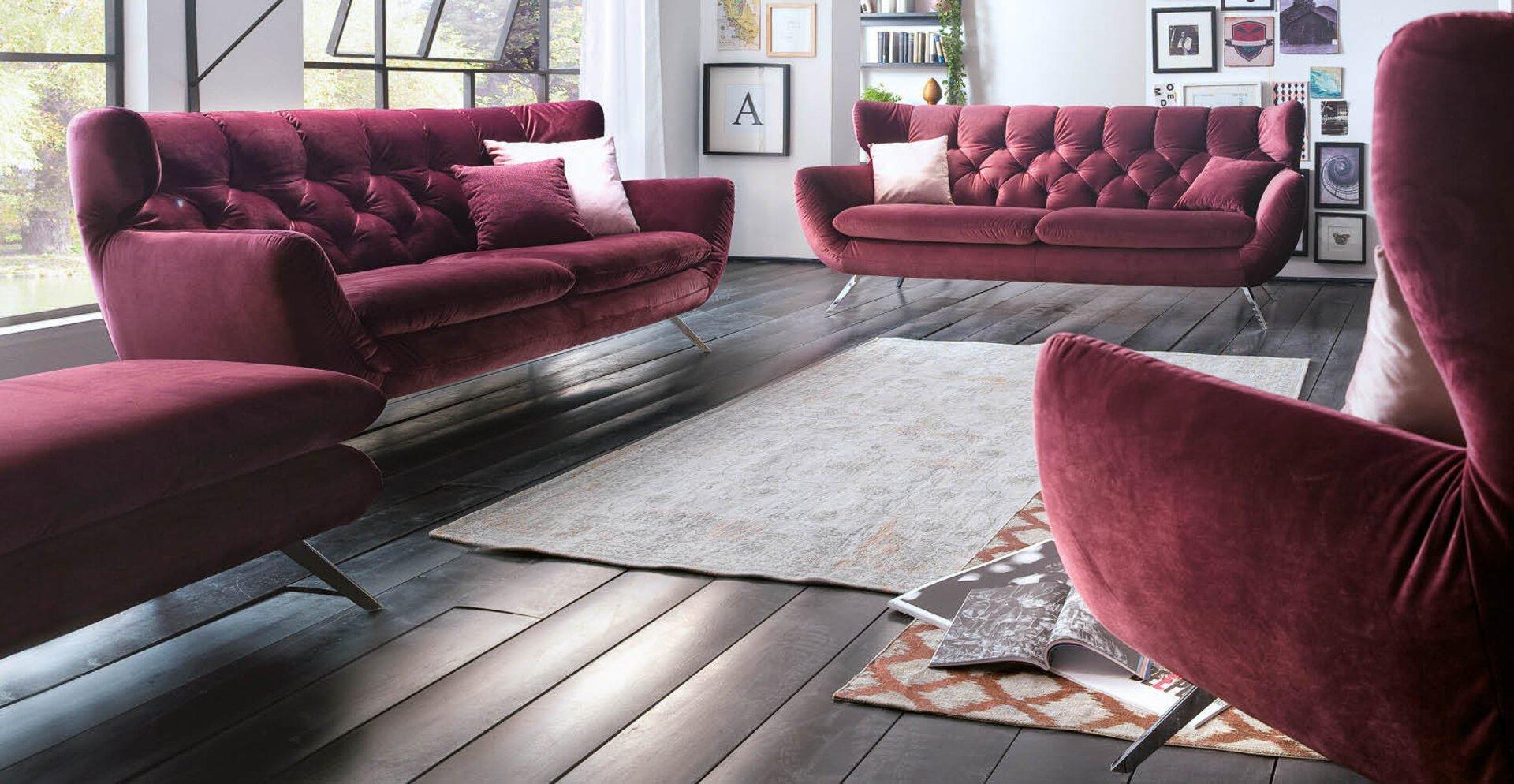 Sofa 2,5-Sitzer SIXTY LASCONDO Textil lila 95 x 94 x 200 cm