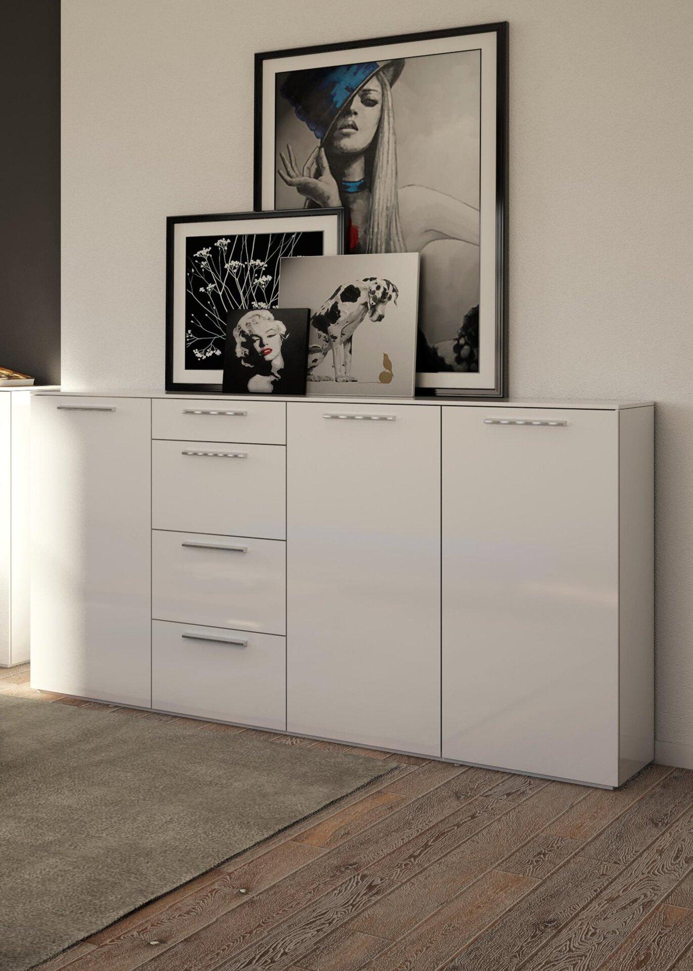 Sideboard SEMPLICE Dinett Holzwerkstoff weiß 1 x 2 cm