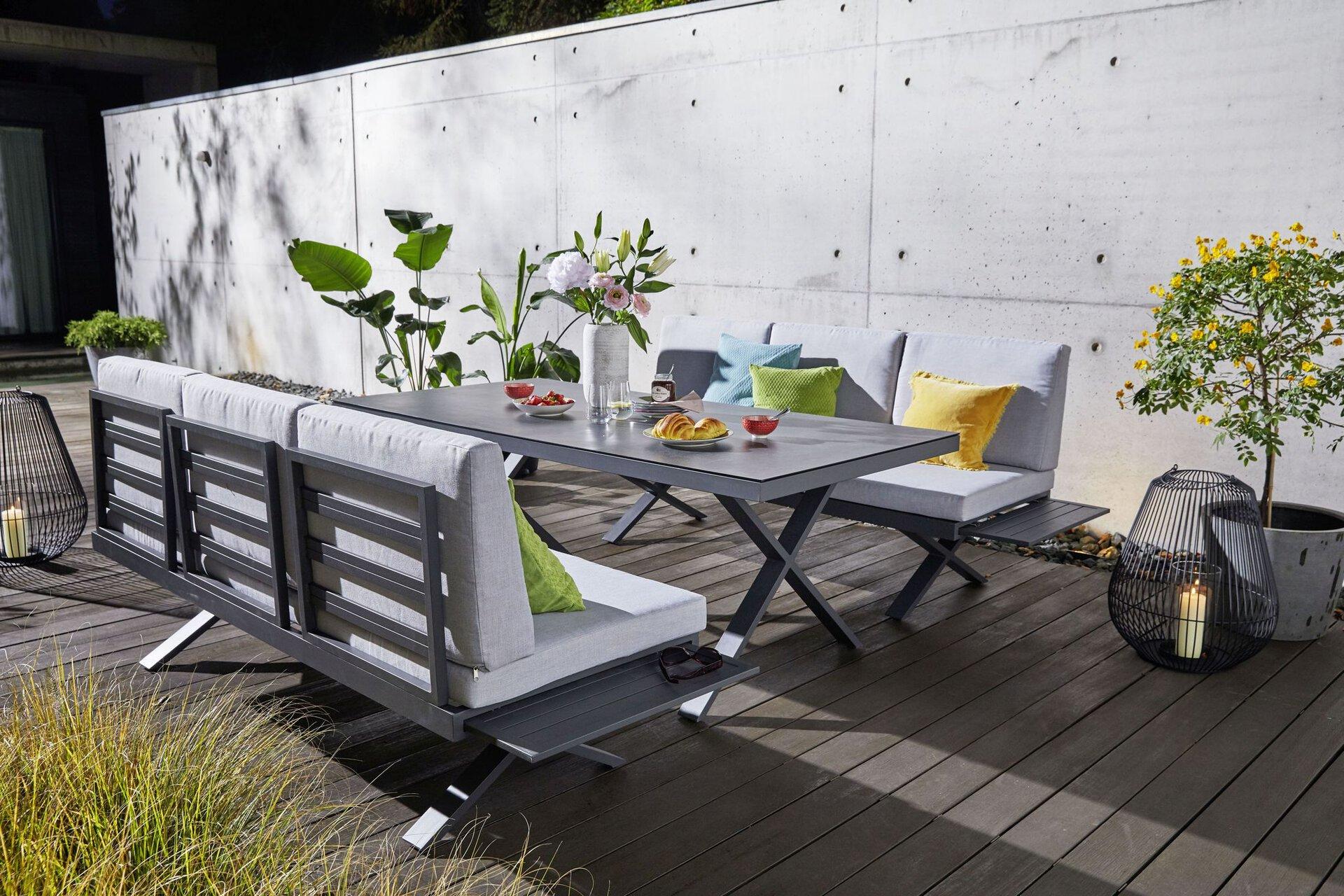Loungesofa - RIEKE II Outdoor Textil grau 88 x 72 x 198 cm
