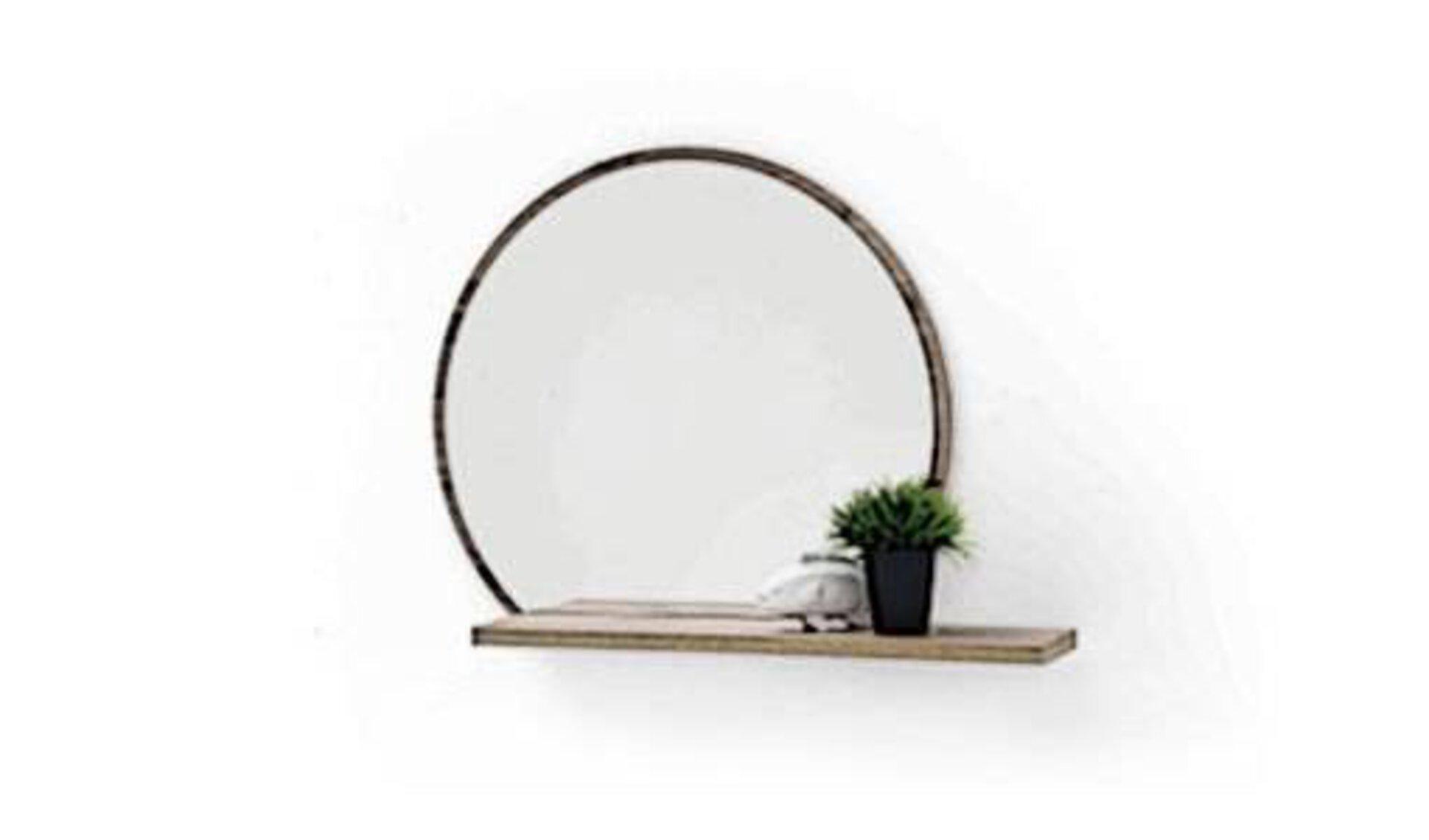 """Garderobenspiegel als Icon für alle Spiegel innerhalb """"Flur und Garderoben"""". Hier abgebildet ist ein runder Spiegel mit dezentem Holzrahmen und fest verbundenem Holzbrett unten, als Ablage für diverse Utensilien."""