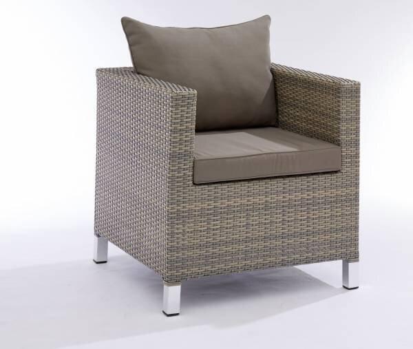 Loungesessel Outdoor Metall, Textil grau ca. 70 cm x 70 cm x 70 cm