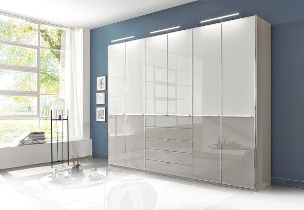 Drehtürenschrank Wiemann Holzwerkstoff Glas Weiß / Glas Kieselgrau ca. 58 cm x 236 cm x 300 cm
