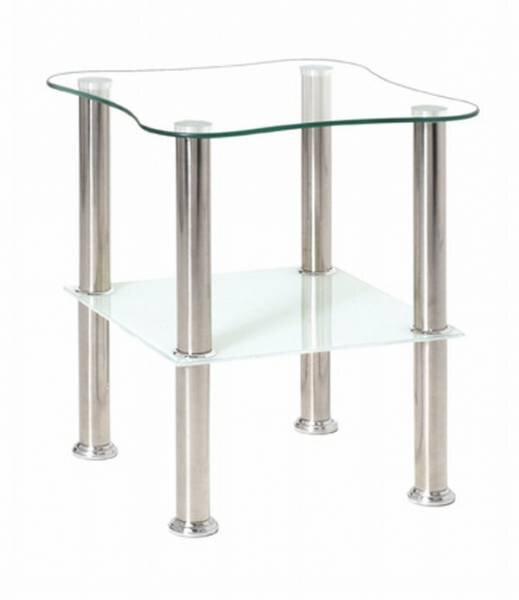 Beistelltisch inbuy Glas, Holzwerkstoff weiß / Klarglas ca. 40 cm x 47 cm x 40 cm