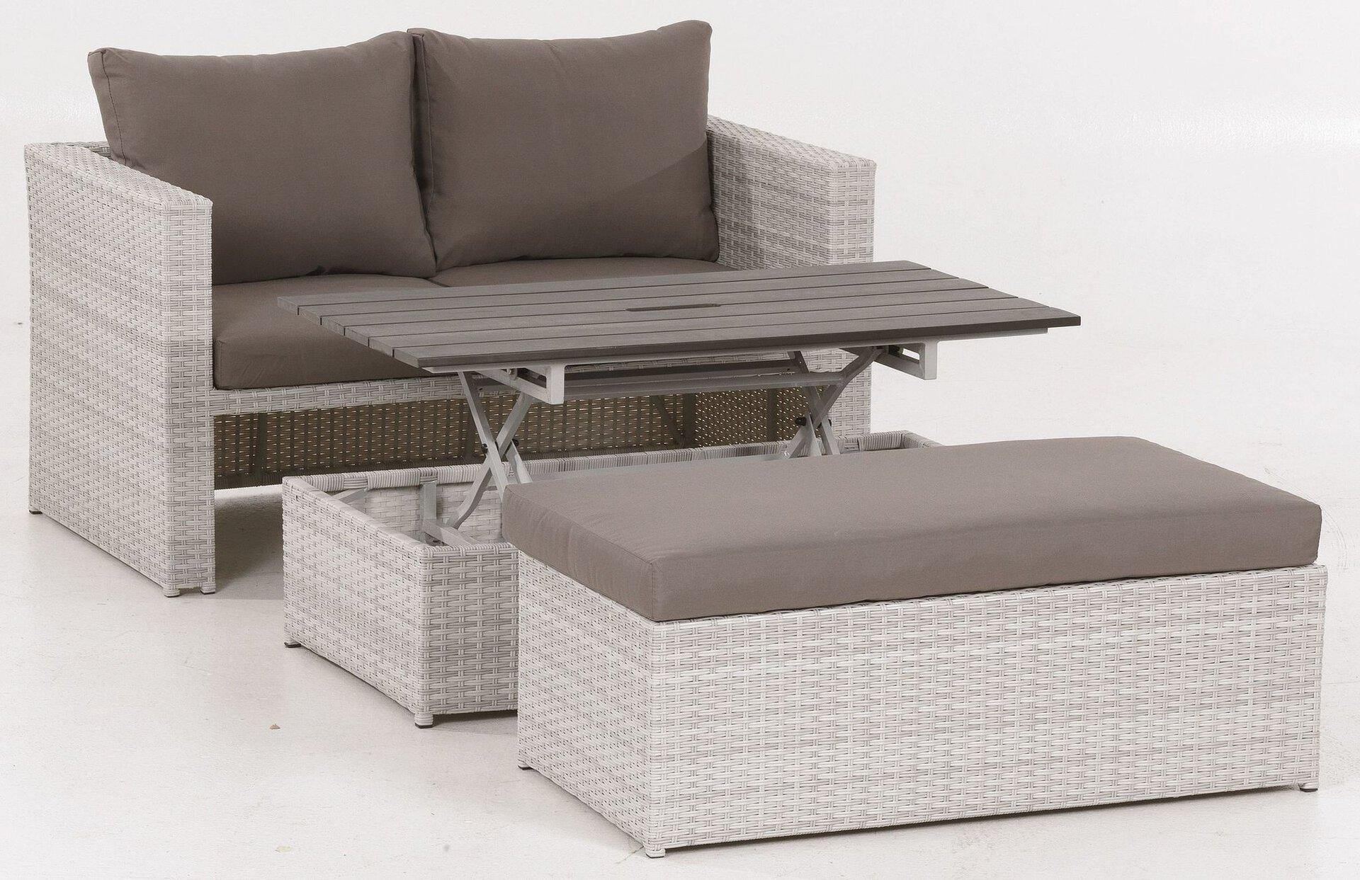 Balkon-Set ARNE Outdoor Textil weiß 58 x 55 x 108 cm