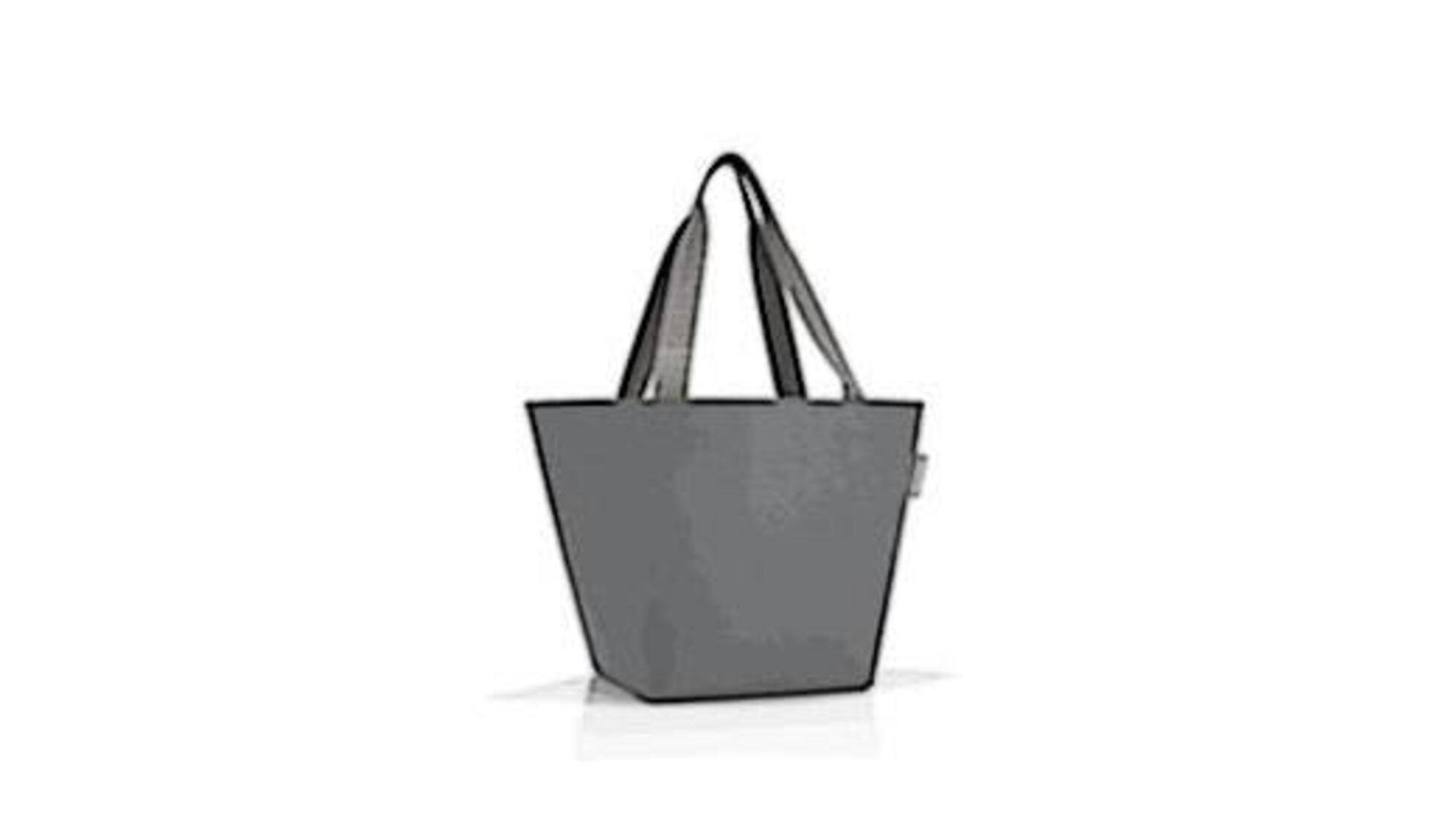 Graue Tasche in Trichterform mit langen Henkeln steht als Icon für alle Taschen und Beutel.