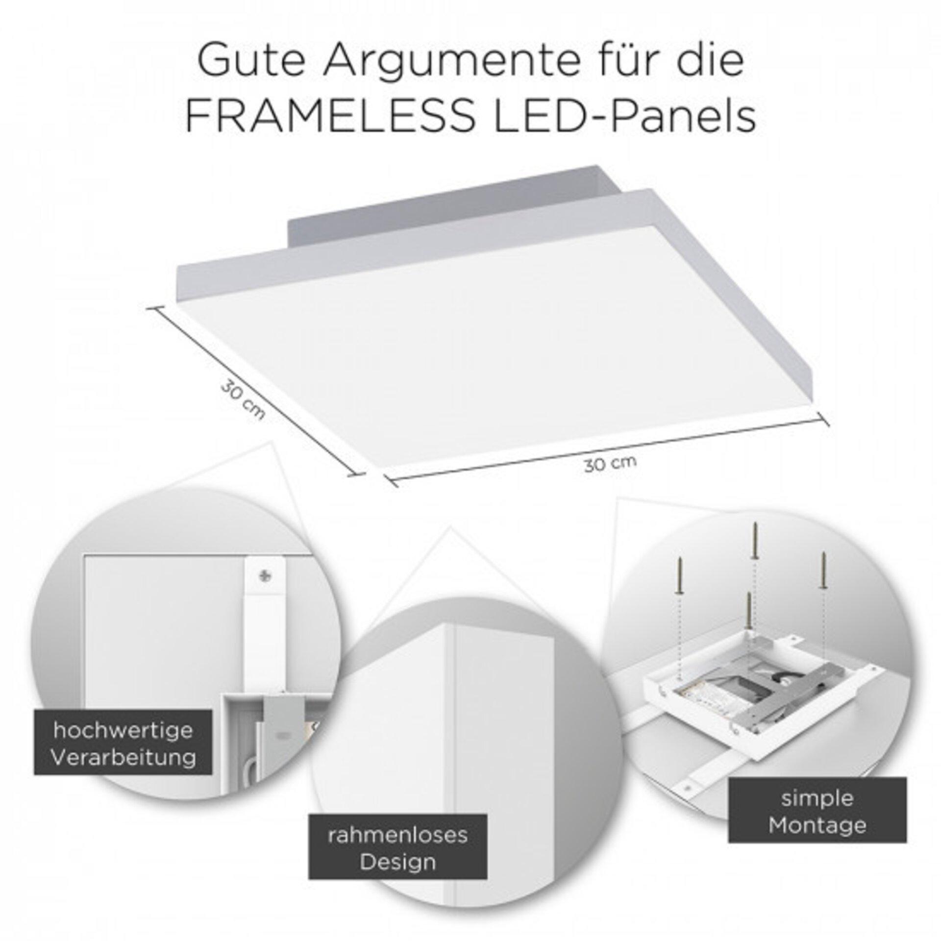 Deckenleuchte FRAMELESS Paul Neuhaus Metall weiß 30 x 7 x 30 cm