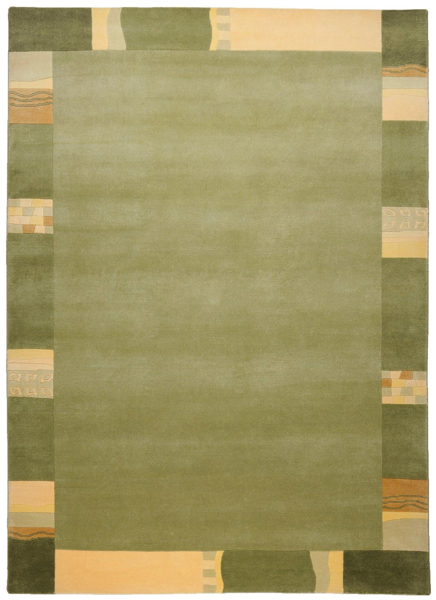 Handknüpfteppich Nepalus Theko Textil grün