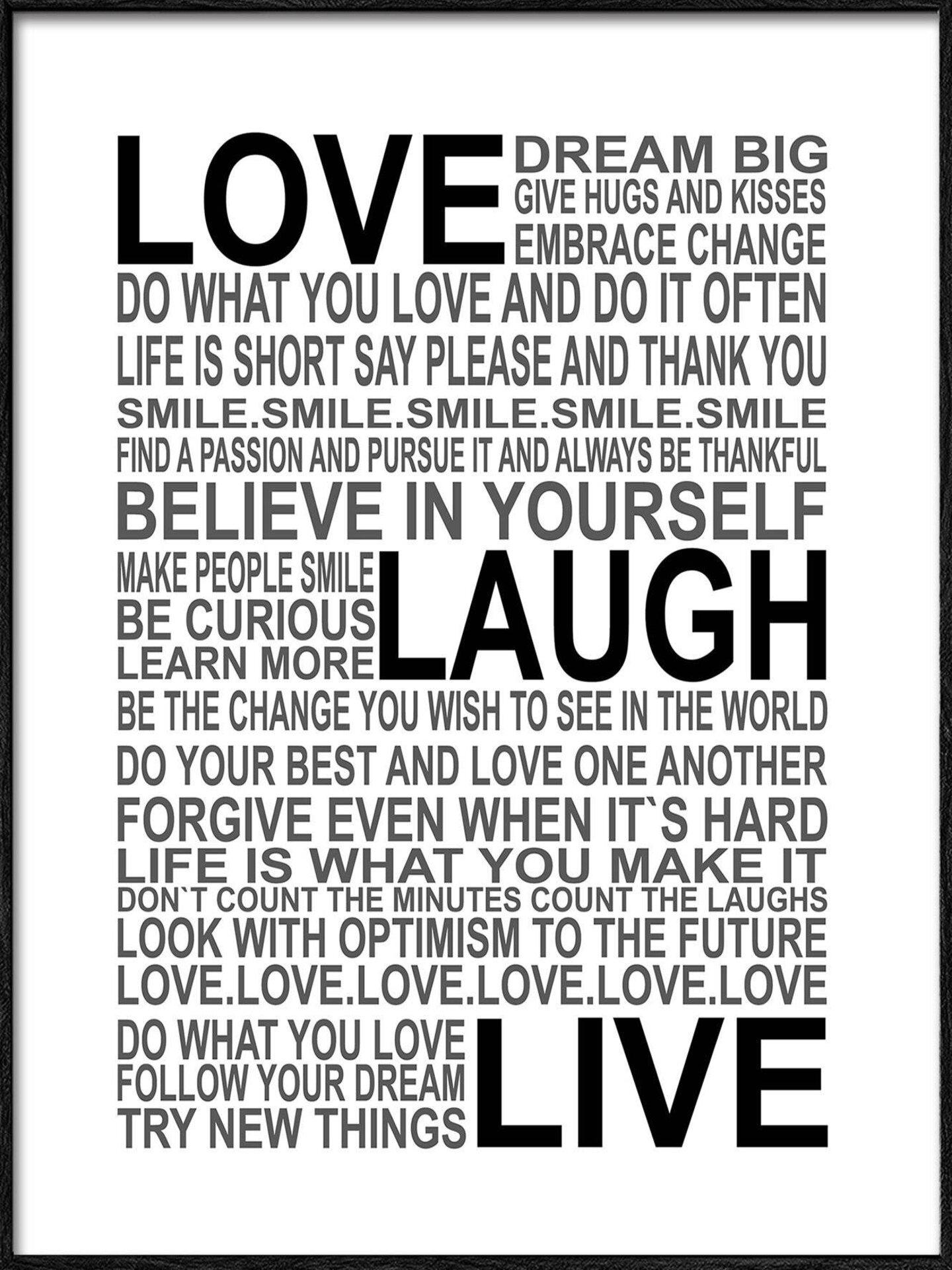 Bild Love-Laugh-Live Pro-Art Papier mehrfarbig 32 x 32 x