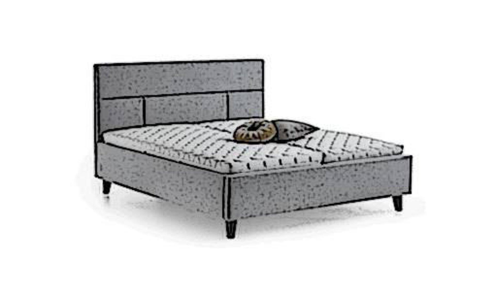 Icon für Polsterbett ist ein stilisiertes Bett mit grauem Stoffbezug und gepolstertem Rückenteil.