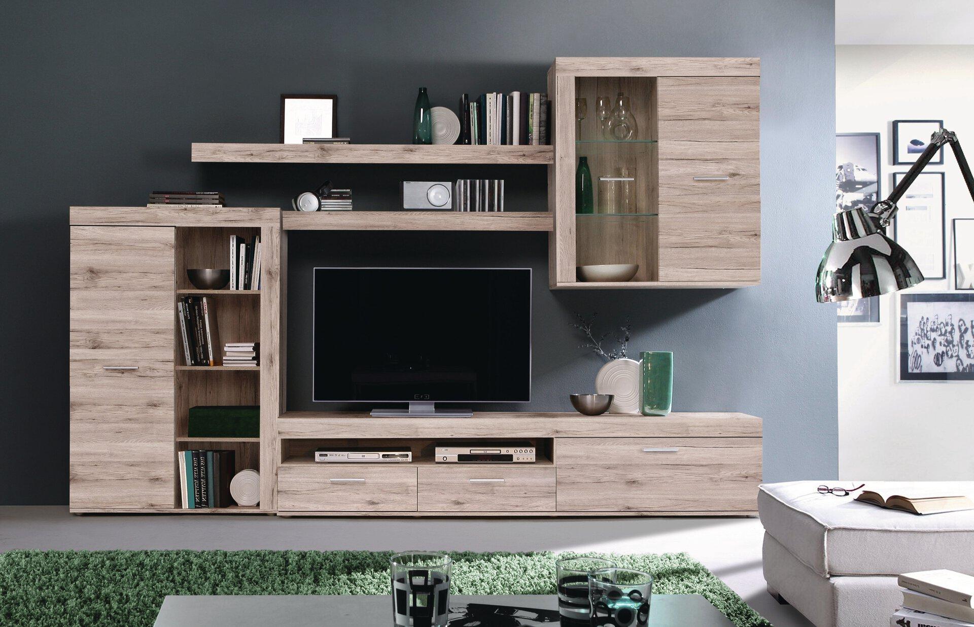 Wohnwand NIZZA CELECT Holzwerkstoff braun 41 x 201 x 300 cm
