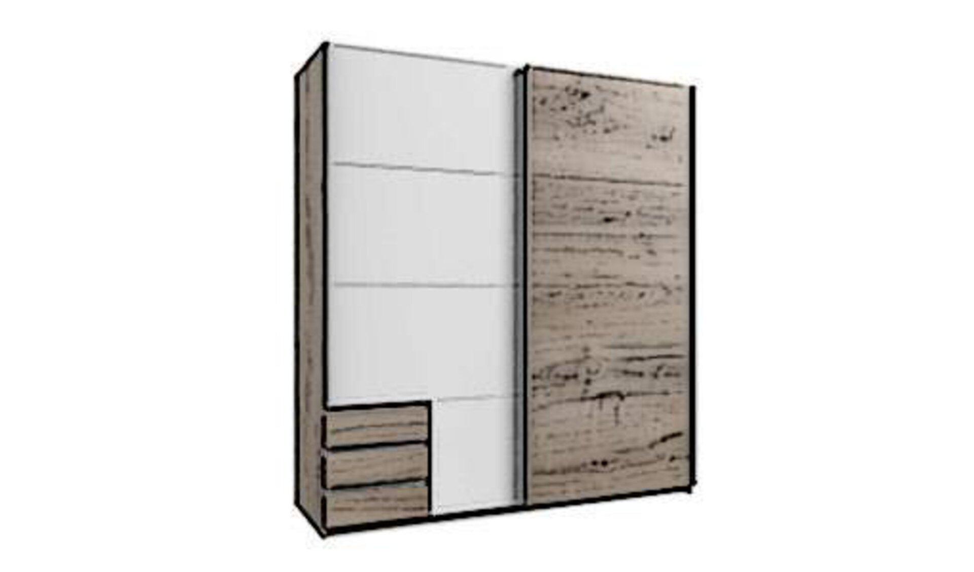 ZWeigeteilter Schwebetürenschrank aus Naturholz und weißem Furnier steht sinnbildlich für alle Schwebetürenschränke innerhalb der Schlafzimmerschränke.
