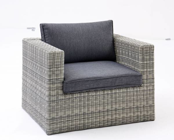 Loungesessel Outdoor Metall, Textil Kunststoffgeflecht grau ca. 65 cm x 84 cm x 95 cm