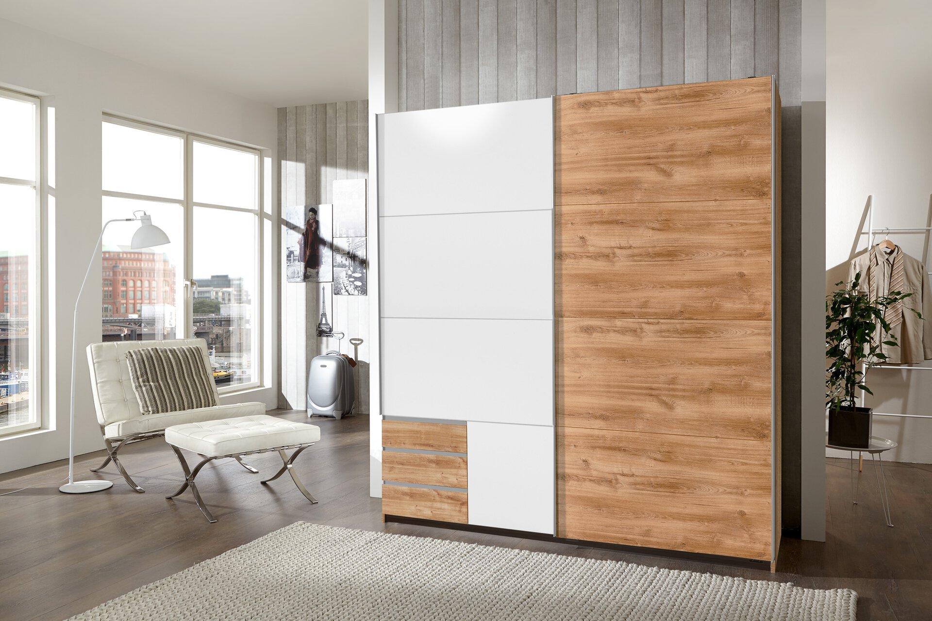 Schwebetürenschrank Emden Wimex Wohnbedarf Holzwerkstoff braun 64 x 198 x 180 cm