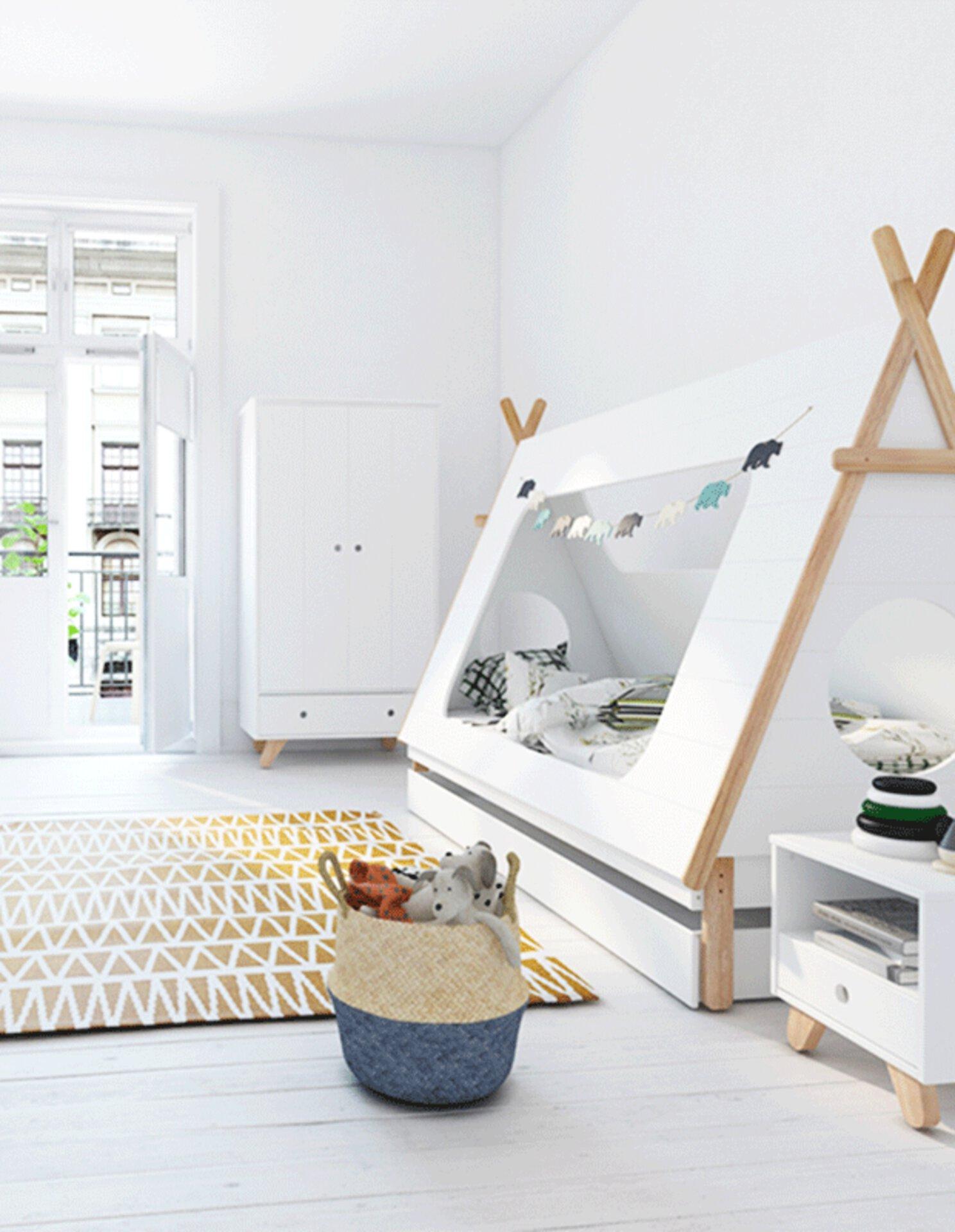 Ein helles und freundliches Kinderzimmer animiert zu guter Laune.