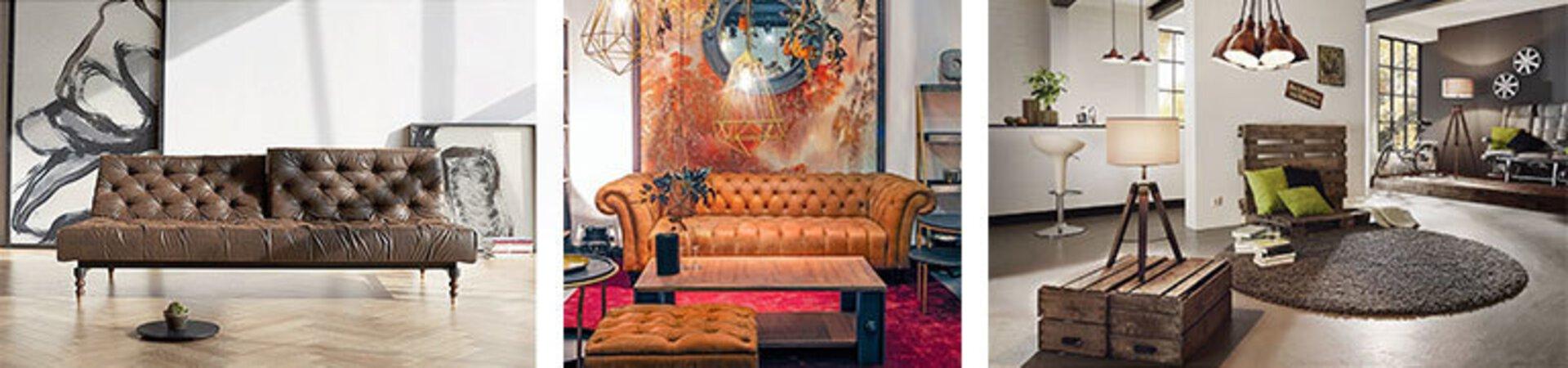 Zeigen Sie Ihre nostalgische Seite mit einer Vintage Einrichtung im Wohnzimmer. Gespreizte Füße, Retro-Linien und grafische Motive, eine Deko die in die Vergangenheit zurück geht.