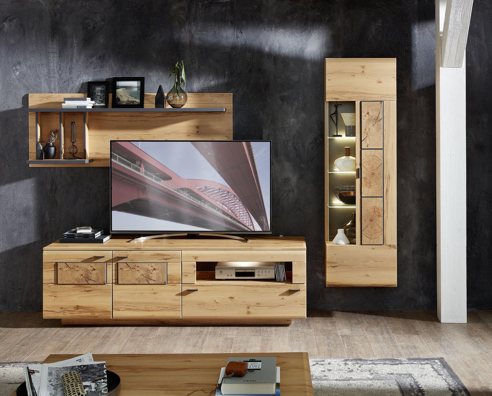 Wohnwand LAVADO Vito Holzwerkstoff braun 47 x 193 x 285 cm