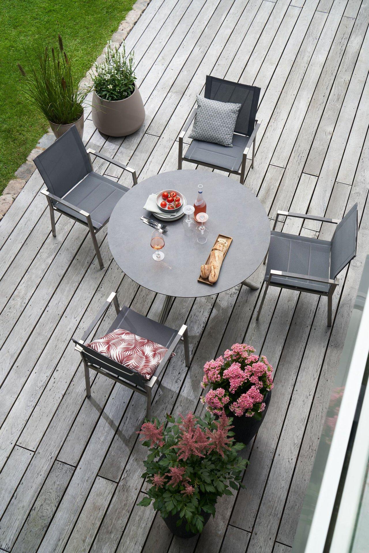 Gartentisch ALINA Outdoor Metall grau 110 x 75 x 110 cm