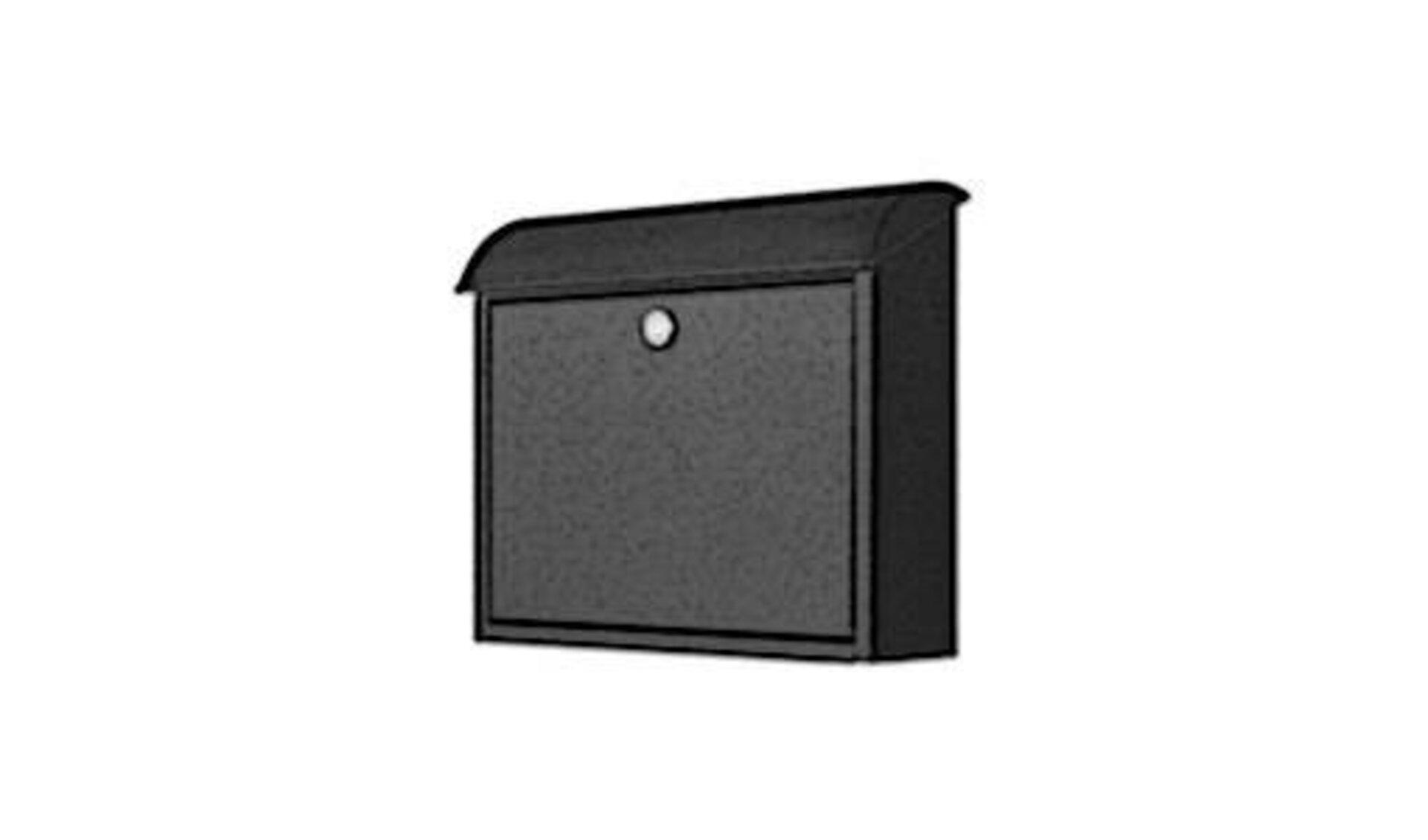 Rechteckiger Briefkasten mit halbrundem Deckel in anthrazit. Der typische Briefkasten steht für die Briefkästen innerhalb der Produktwelt..