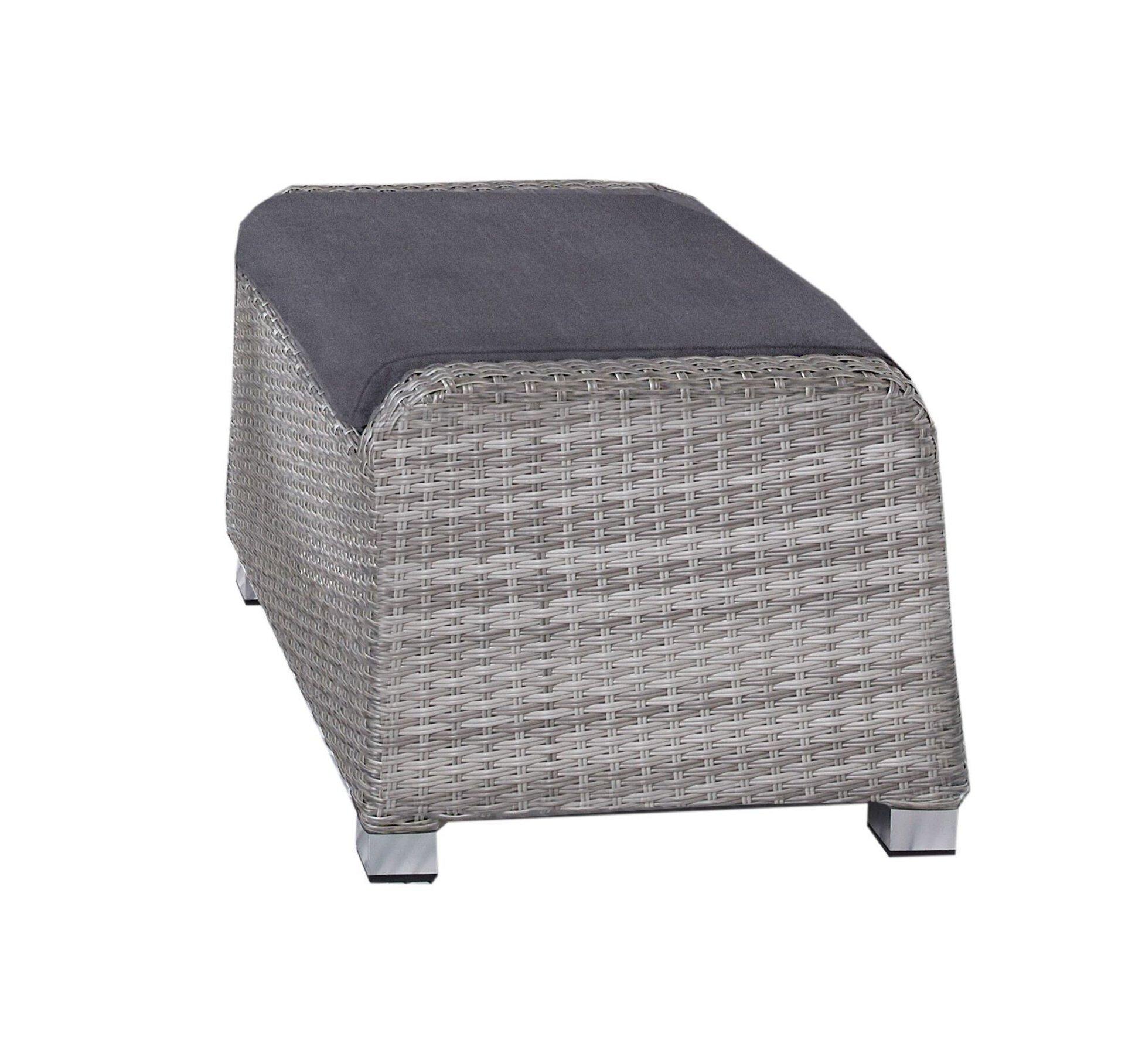 Hocker PARMA Outdoor Textil grau 55 x 43 x 71 cm