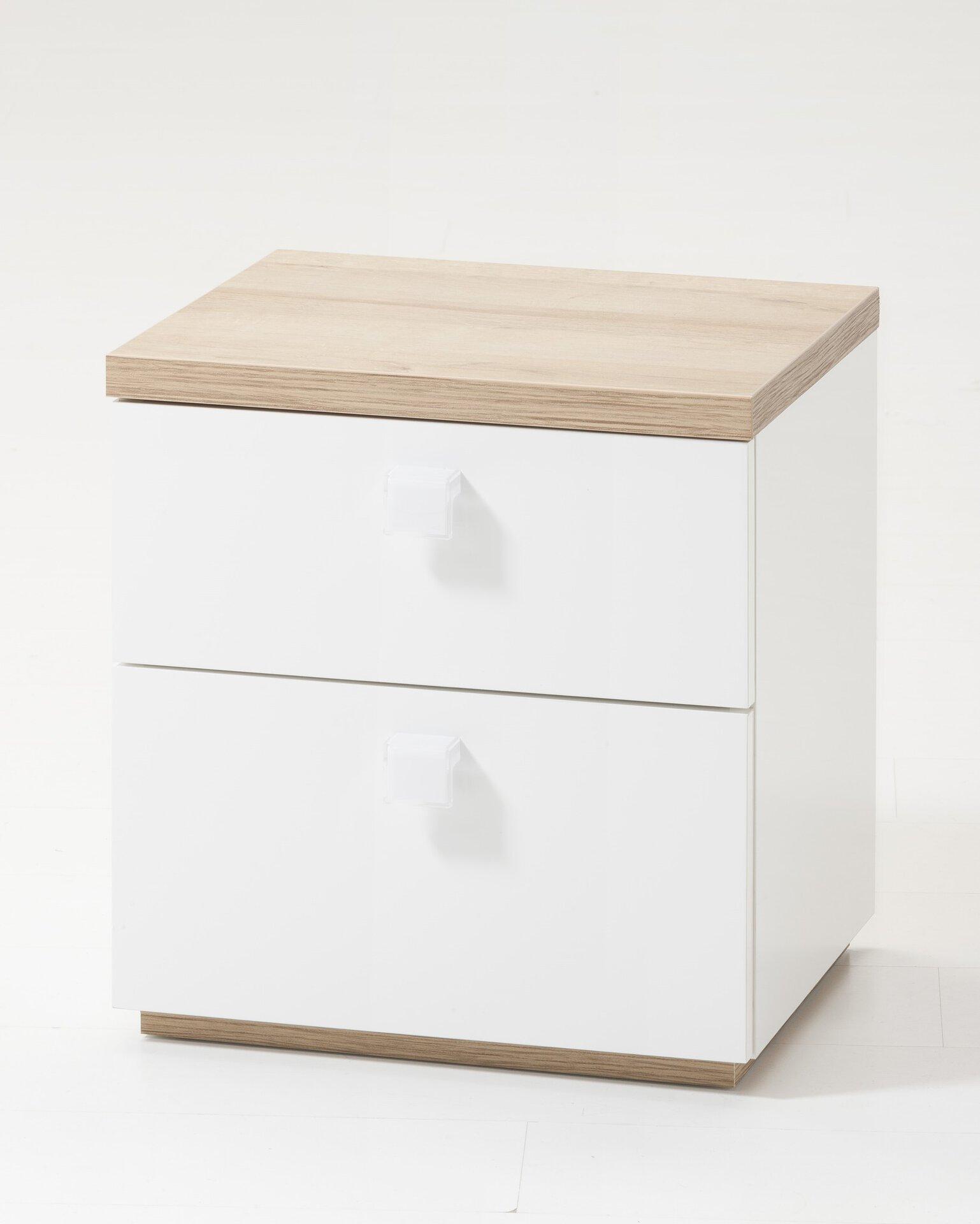 Nachttisch Globo inbuy Holzwerkstoff weiß 48 x 40 x 45 cm