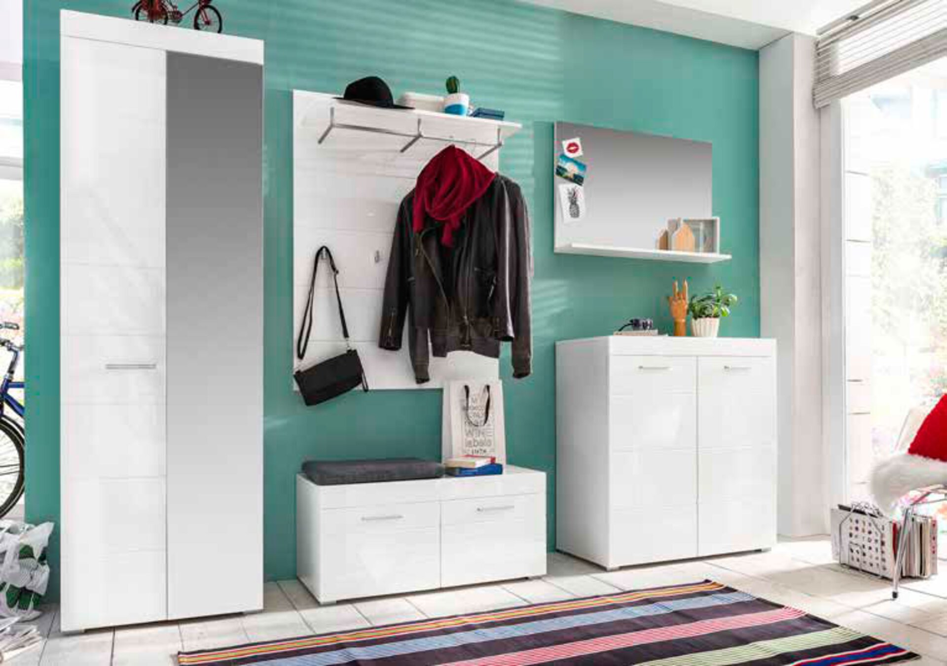Garderobenbank AMANDA inDoor Holzwerkstoff weiß 1 cm