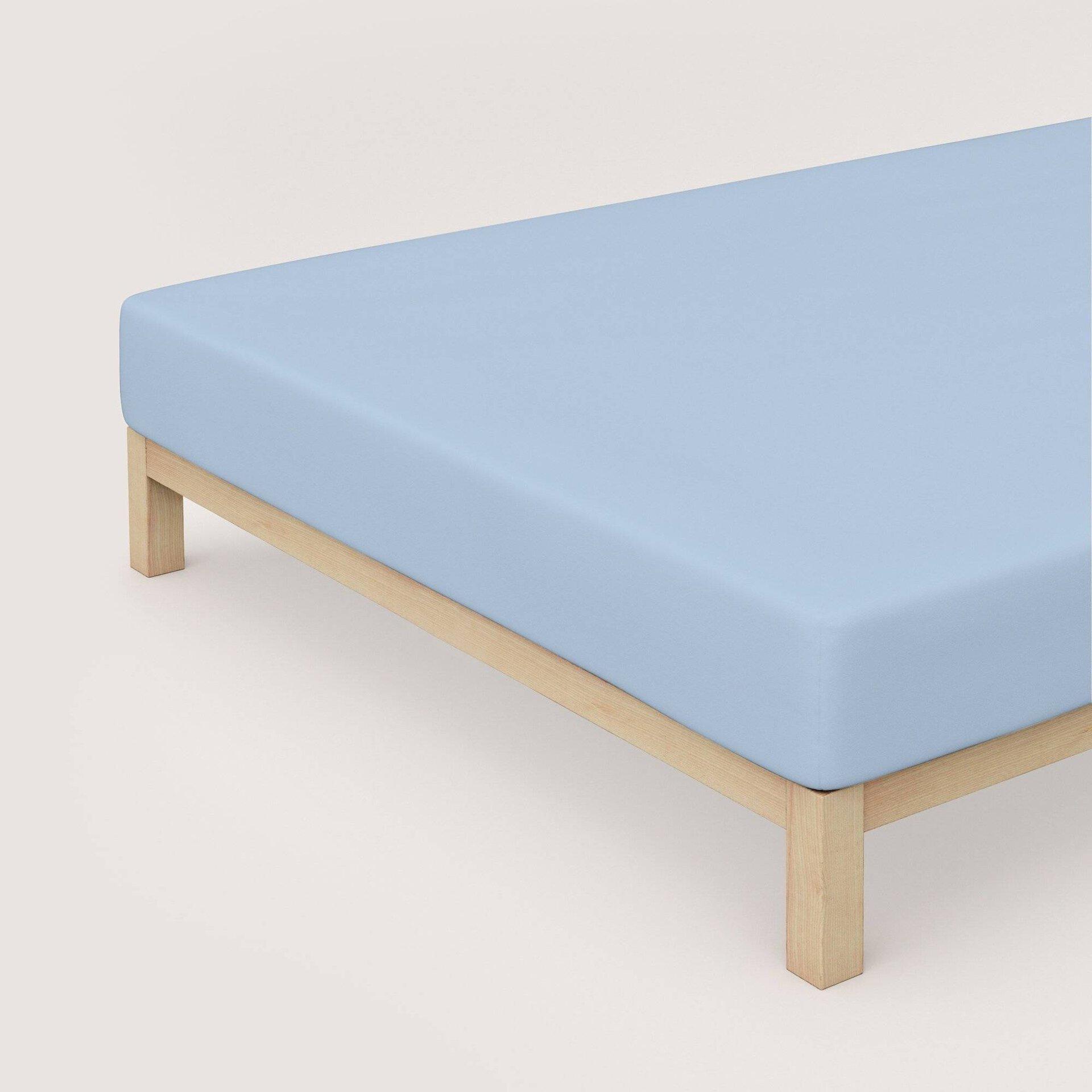 Jersey-Spannbetttuch Schlafgut Textil Blau 120 x 200 cm