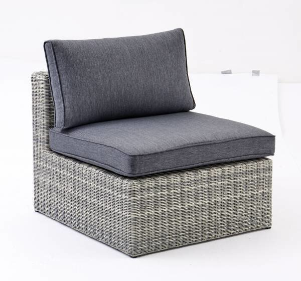Mittelelement Outdoor Kunststoff, Metall, Textil grau ca. 65 cm x 84 cm x 72 cm