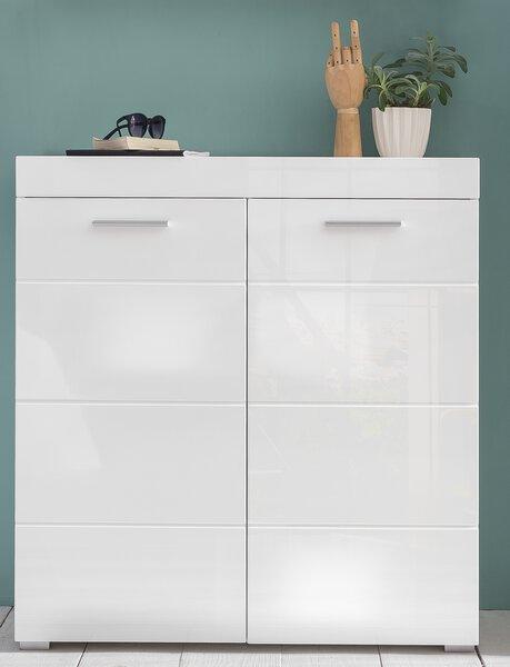 Schuhschrank inDoor Holzwerkstoff Lack weiß Hochglanz ca. 38 cm x 97 cm x 91 cm