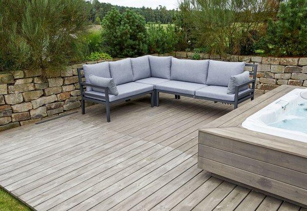 Lounge-Set Outdoor Metall anthrazit ca. 80 cm x 81 cm x 80 cm
