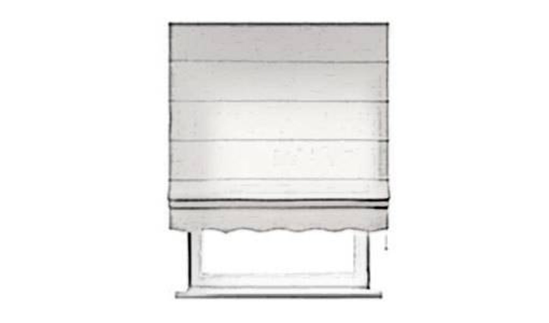 Raffrollo wird als weißer Stoffvorhang dargestellt, der wie ein Rollo nach oben und untern gezogen werden kann.