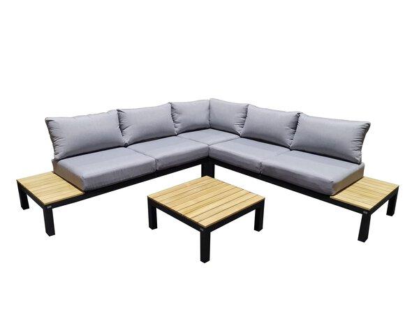 Lounge-Set Outdoor Holz, Metall, Textil anthrazit/hellgrau ca. 74 cm x 72 cm x 74 cm