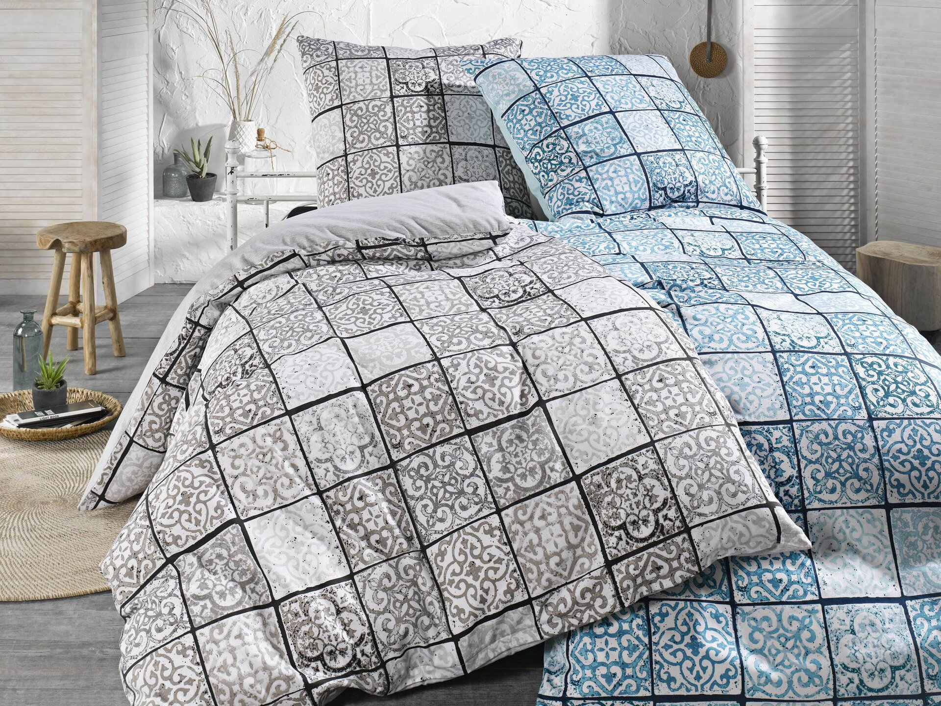 Satin-Bettwäsche Patchwork Ornamente Tom Tailor Textil grau 200 x 200 cm