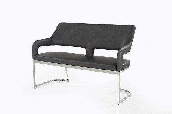 Einzelbank Dinett Textil Vintage grau ca. 57 cm x 92 cm x 140 cm