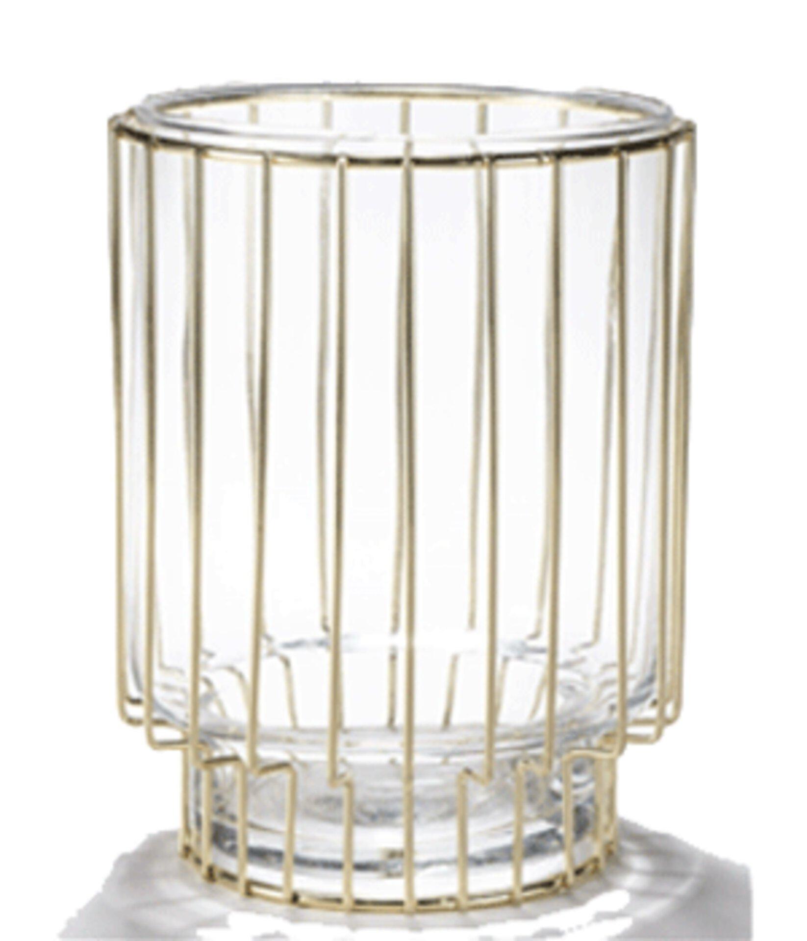 Windlicht aus Glas mit goldenem Gestell