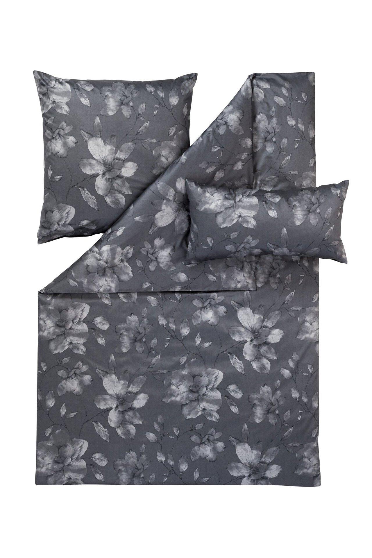 Satin-Bettwäsche Isadora Estella Textil grau 155 x 220 cm