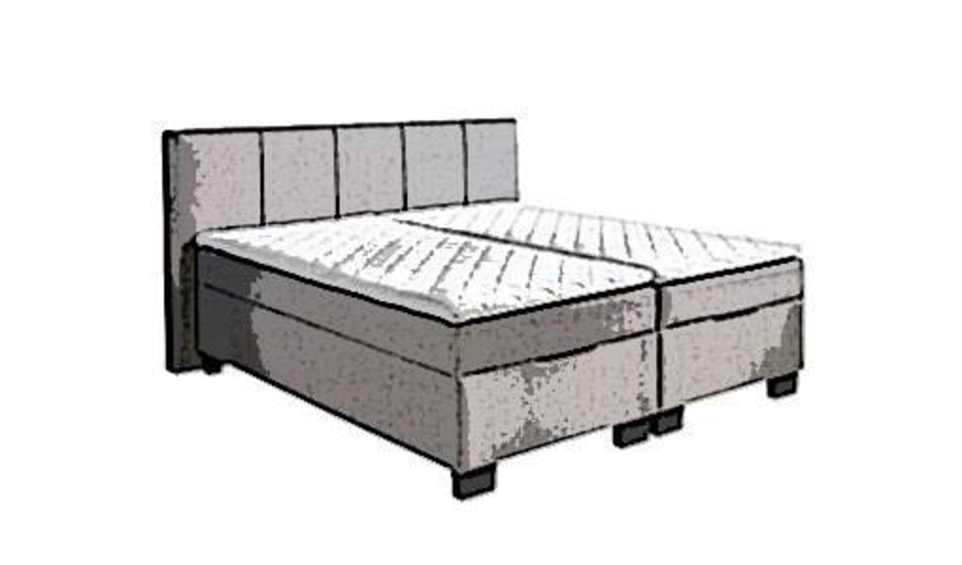 Stilisiertes Boxspringbett mit gepolstertem Kopfteil in Grautönen als Sinnbild für die in der Kategorie enthaltenen Boxspringbetten.