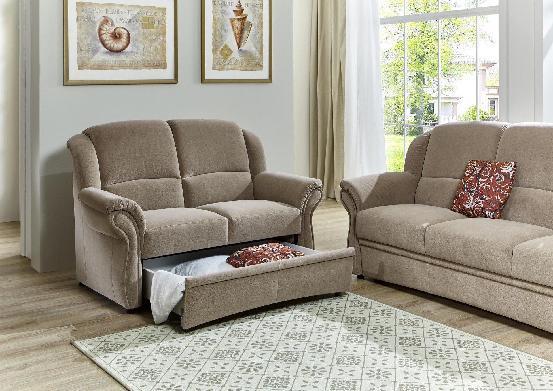 Sofa 2-Sitzer Systempolster Textil beige 89 x 98 x 148 cm