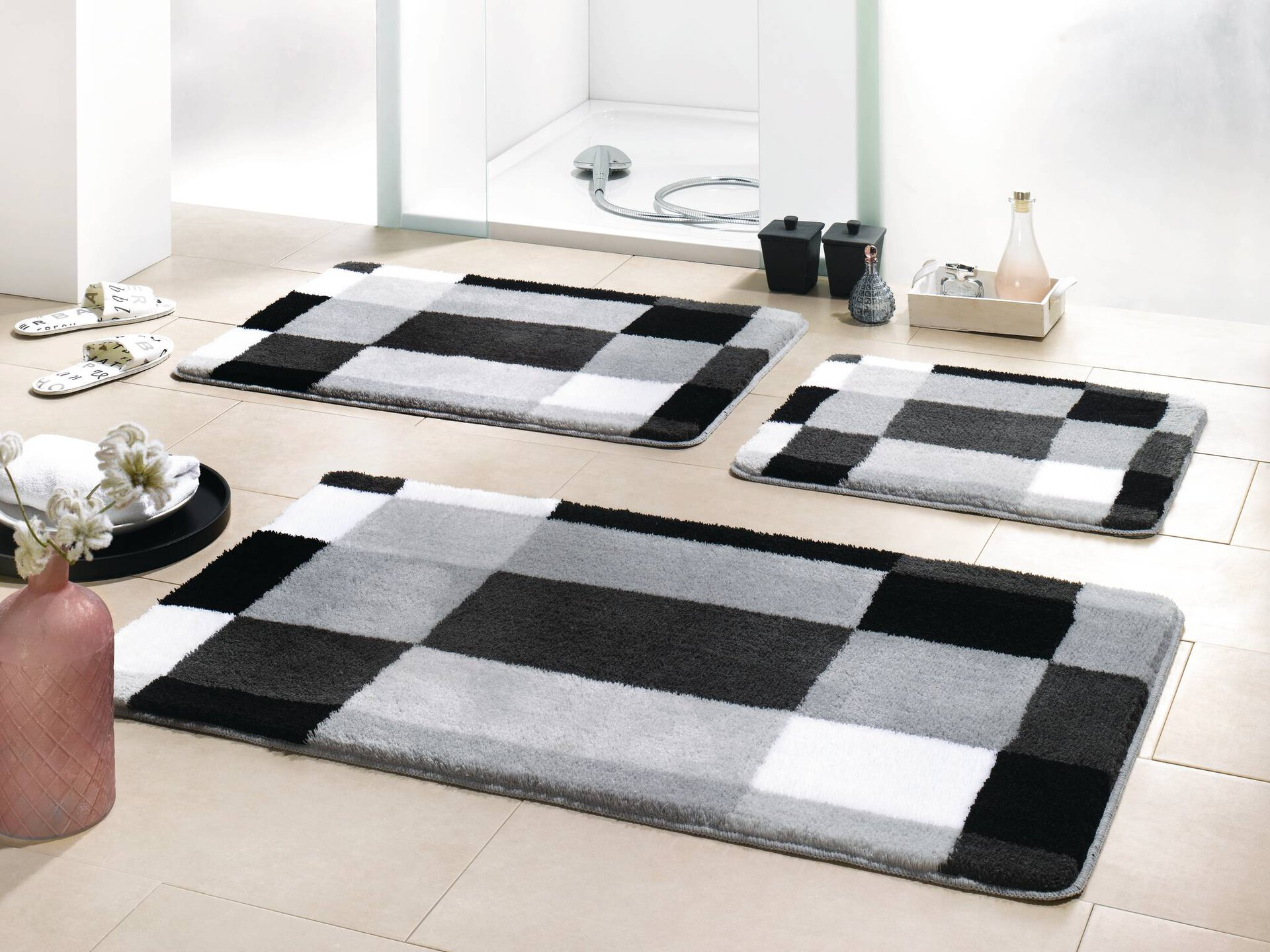 Badteppich Edge Kleine Wolke Textil grau 50 x 60 cm