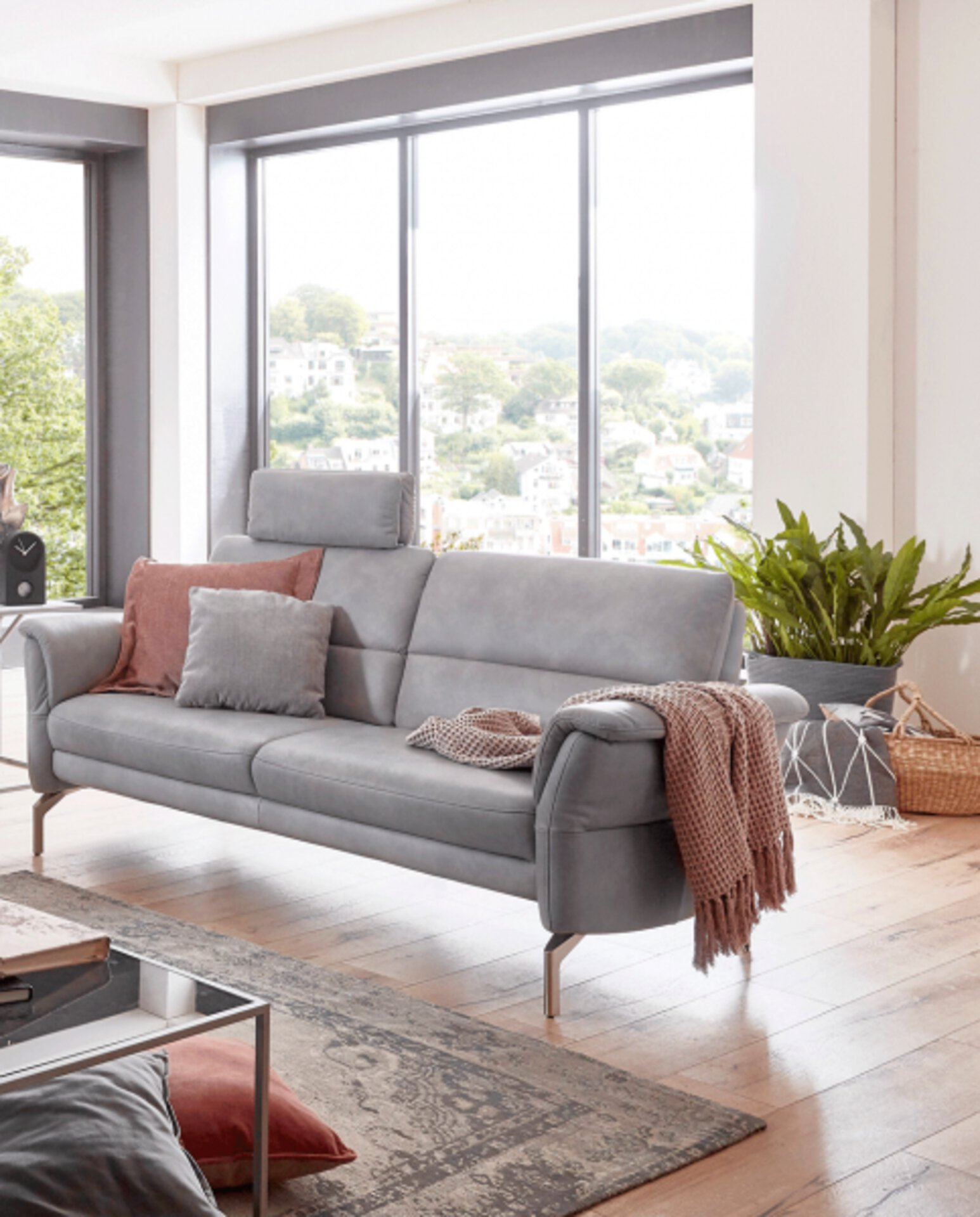 Sofa 2,5-Sitzer TWAYN Vito Leder grau 89 x 87 x 192 cm