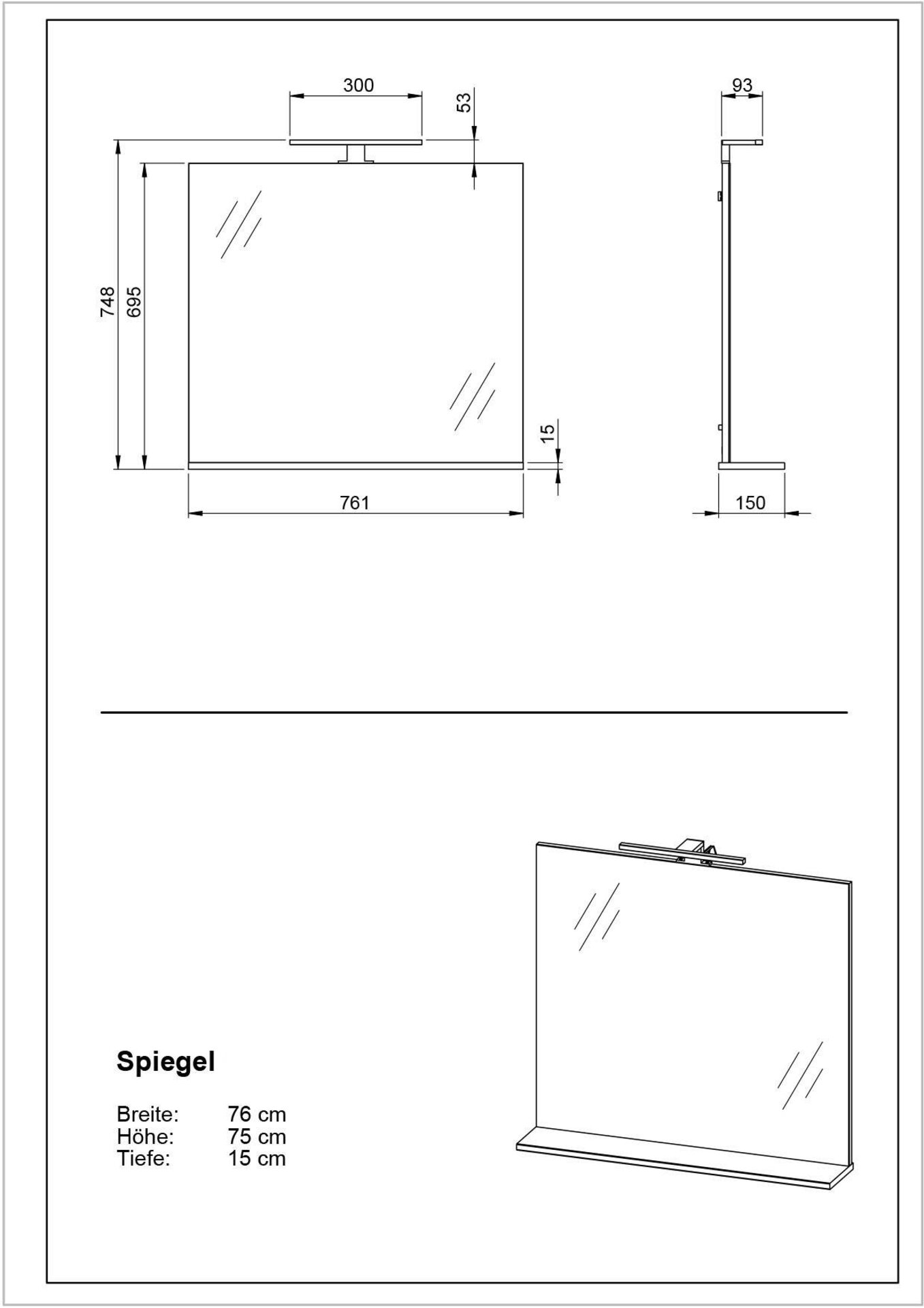 Spiegel Germania Holzwerkstoff grau 15 x 75 x 76 cm
