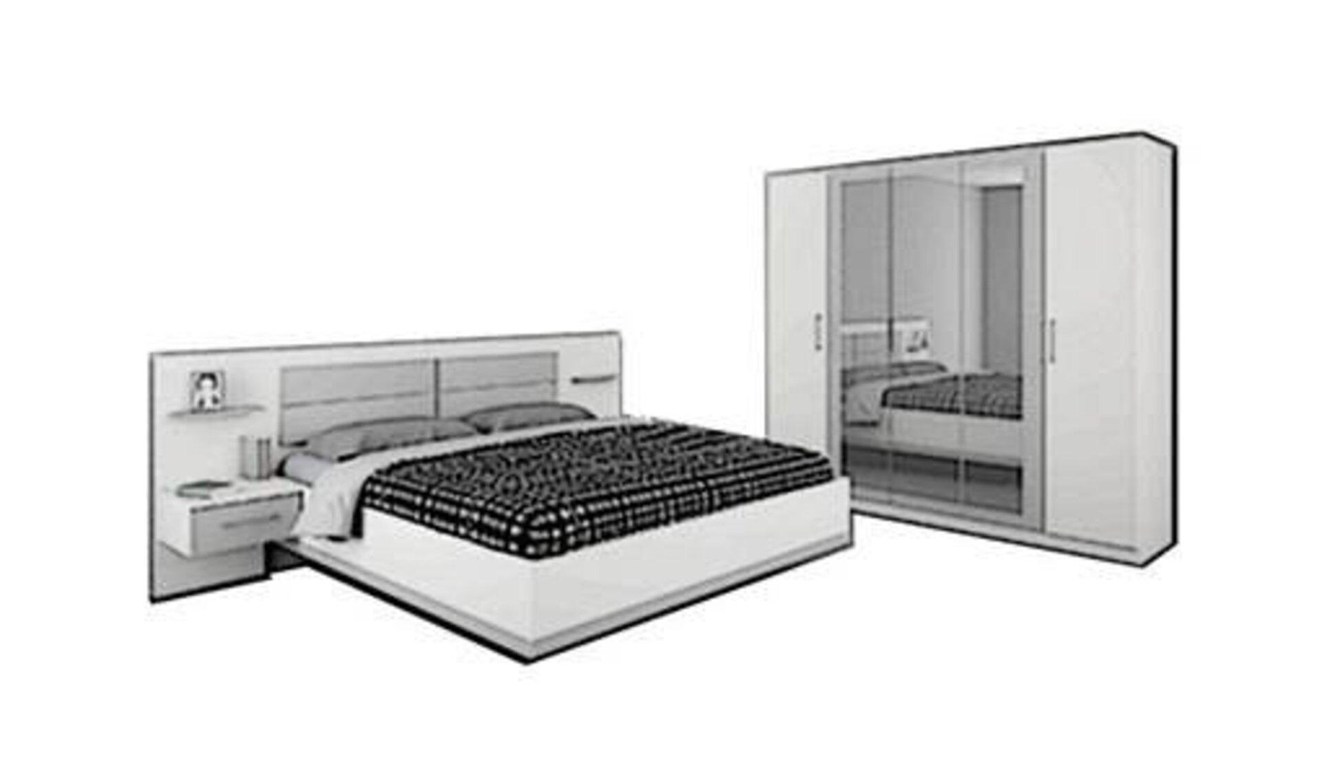 Icon für die Kategorie Schlafzimmer. Das Schlafzimmer wird durch eine Doppelbett mit integrierten Ablagen, sowie einem großen Kleiderschrank dargestellt.