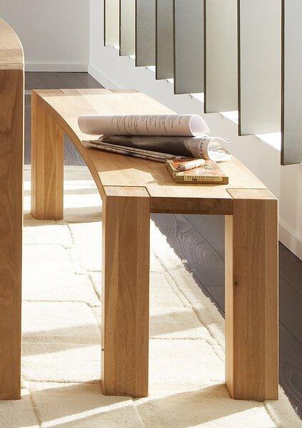 Einzelbank Niehoff Sitzmöbel Holz Wildeiche massiv geölt ca. 38 cm x 45 cm x 160 cm