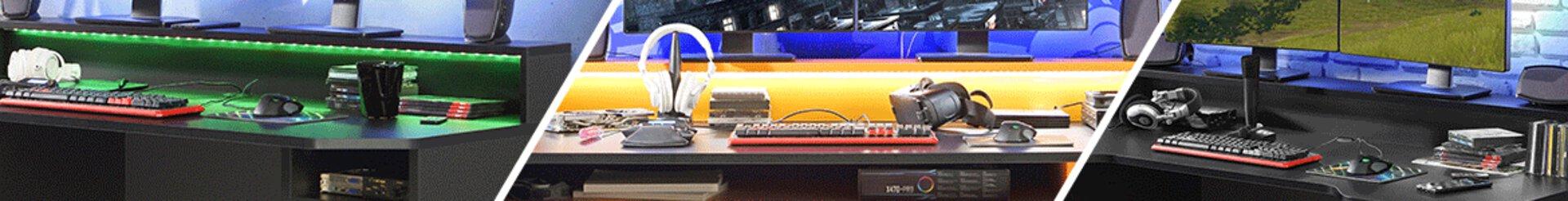 Finden Sie eine große Auswahl an Gaming Schreibtischen mit den unterschiedlichsten Funktionen bei Möbel Inhofer. Integrierter Getränkehalter, ausklappbare Anschlussleiste und vieles mehr.