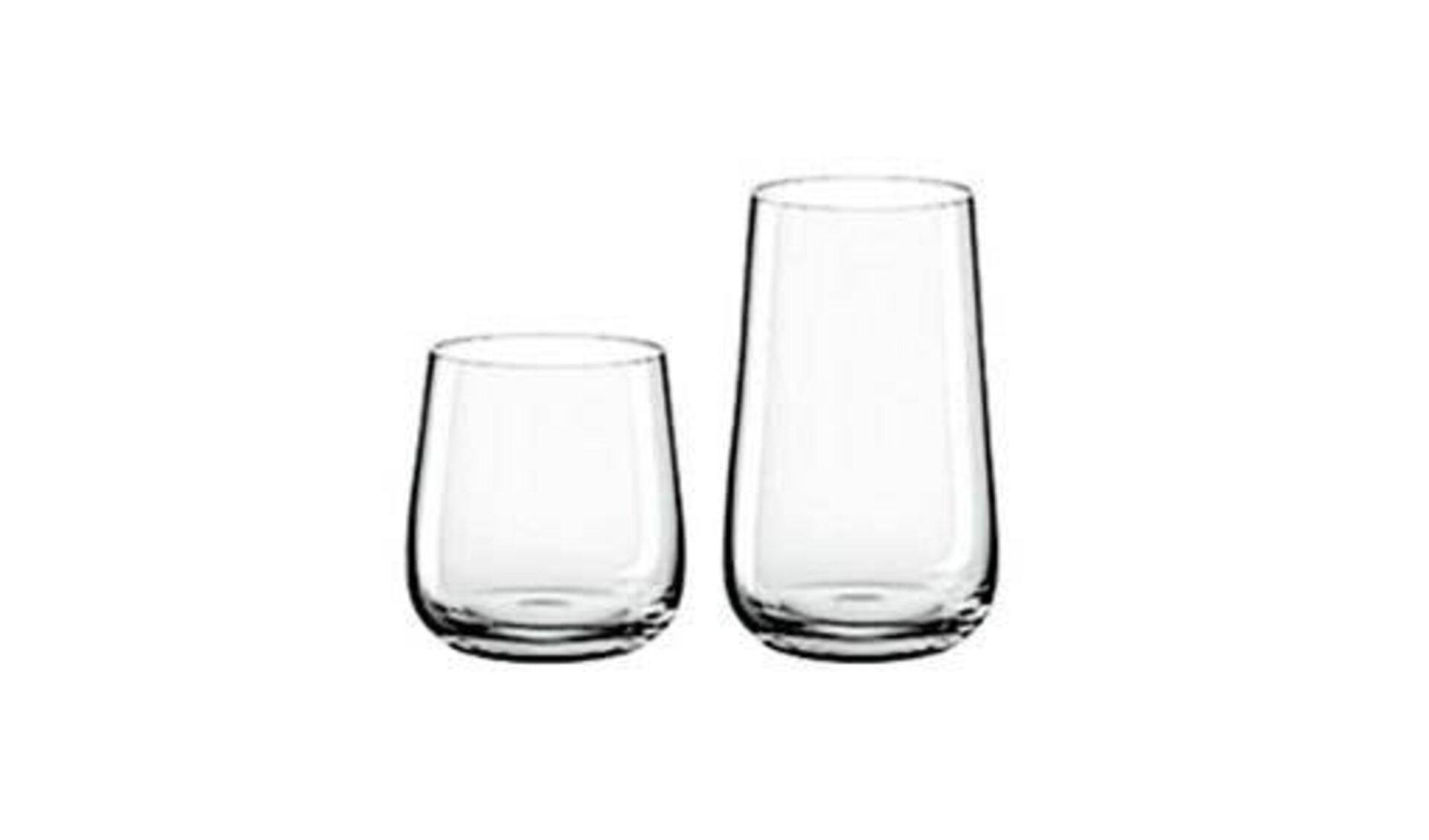 Icon für Gläser zeigt ein niedriges Trinkglas und ein höheres Glas in geschwungener Kegelform.