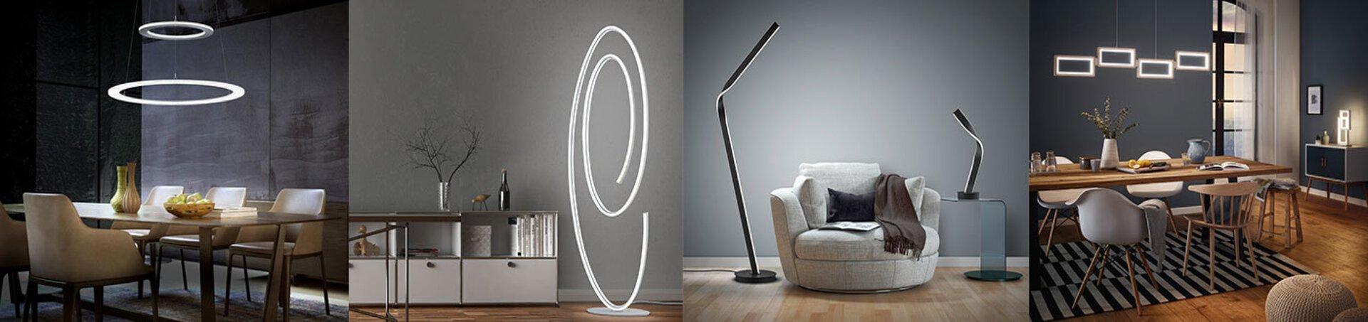 """Verschiedene Lampen in modernem Design und abstrakten Formen als Inspiration für  moderne Leuchten auf der Inspirationsseite """"Leuchtentrends""""."""